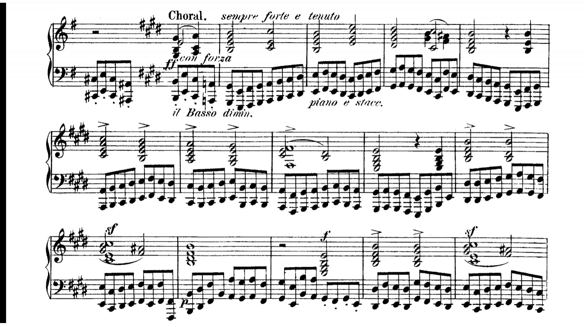 孟德爾遜 E 小調前奏與賦格的結尾,以一首合唱曲作結,以簡單情感,將音樂的宗教性表現出來。
