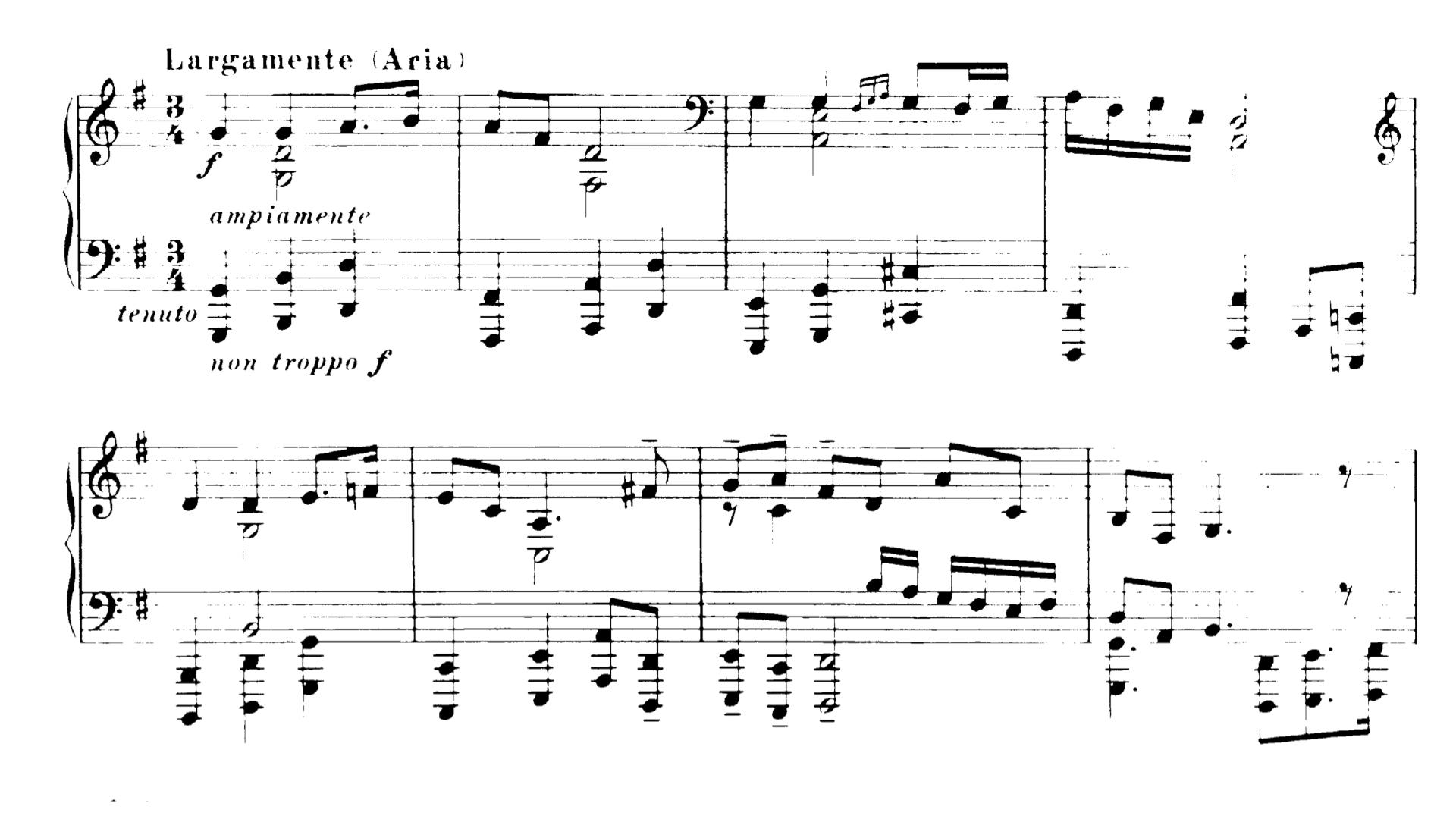 布梭尼改編巴赫的《哥德堡變奏曲》,將結尾一段詠歎調的裝飾音全都除掉。