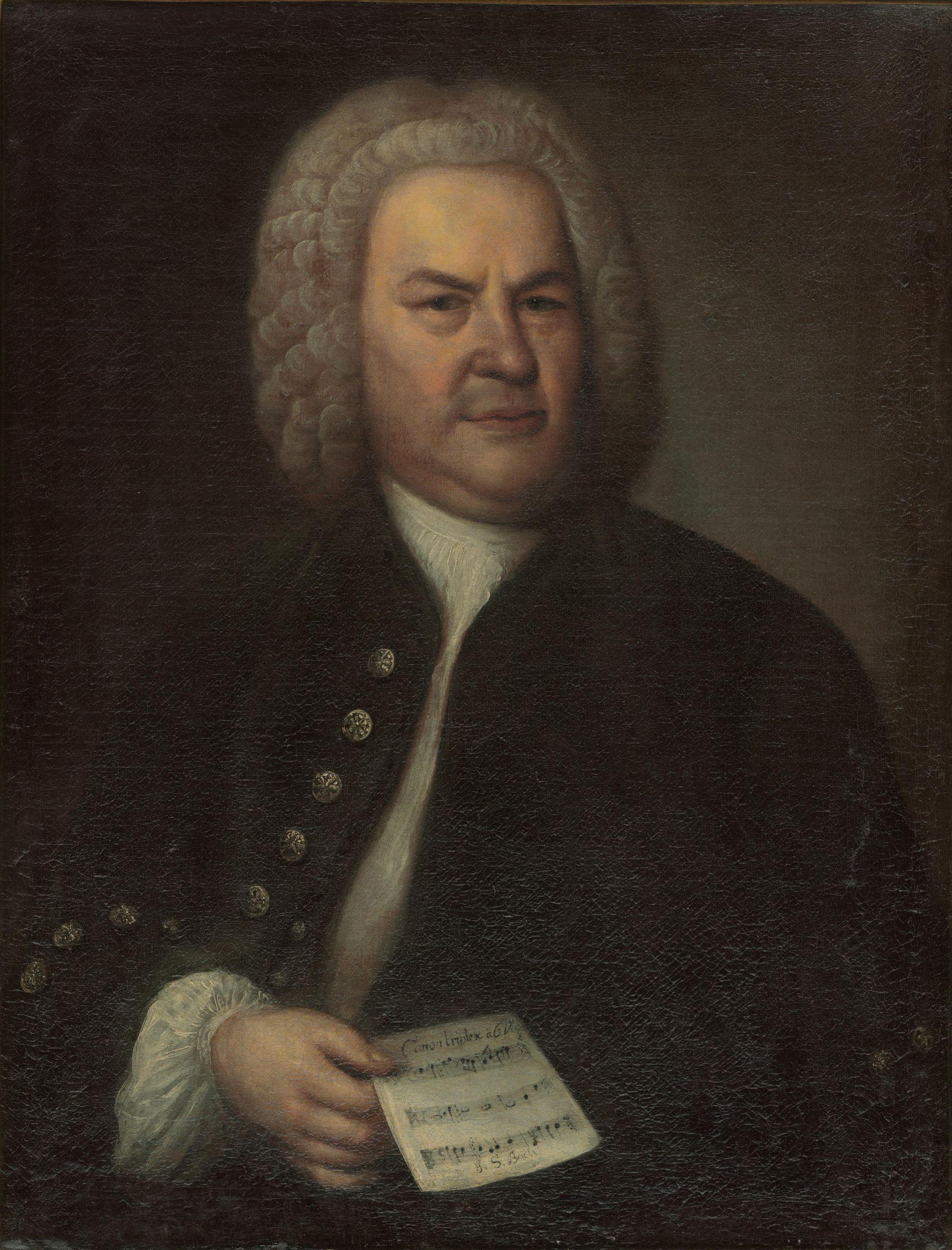 巴赫唯一的一幅畫像,是由侯斯曼於 1746 年繪製。畫中的巴赫衣裝端正,手上拿着他自己所寫的六聲部卡農曲。