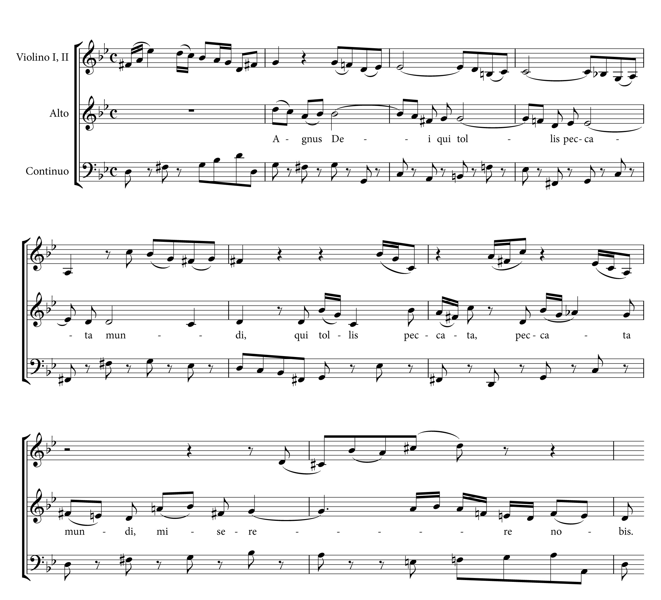 巴赫改編自己的舊作〈噢,我最親愛的,請你留下〉(BWV 11,上圖)成為《B 小調彌撒曲》中的〈羔羊經〉(下圖)。巴赫為〈羔羊經〉寫上新的女低音旋律開句,然後巧妙地接上舊作的旋律。