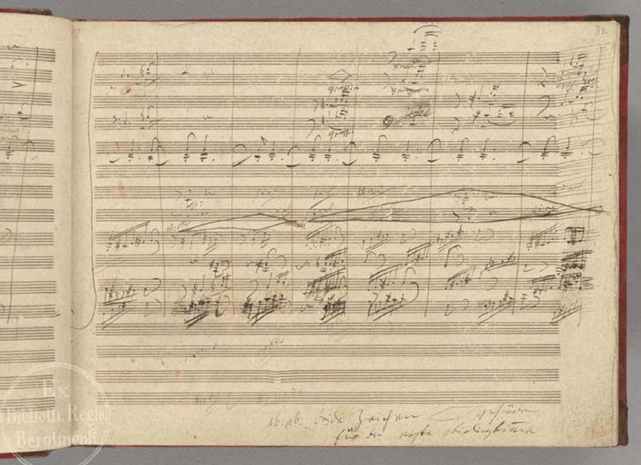 作曲家的手稿並不易讀,有些潦草得或許只有作曲家本人才明白。圖為貝多芬第九交響曲的一頁手稿。