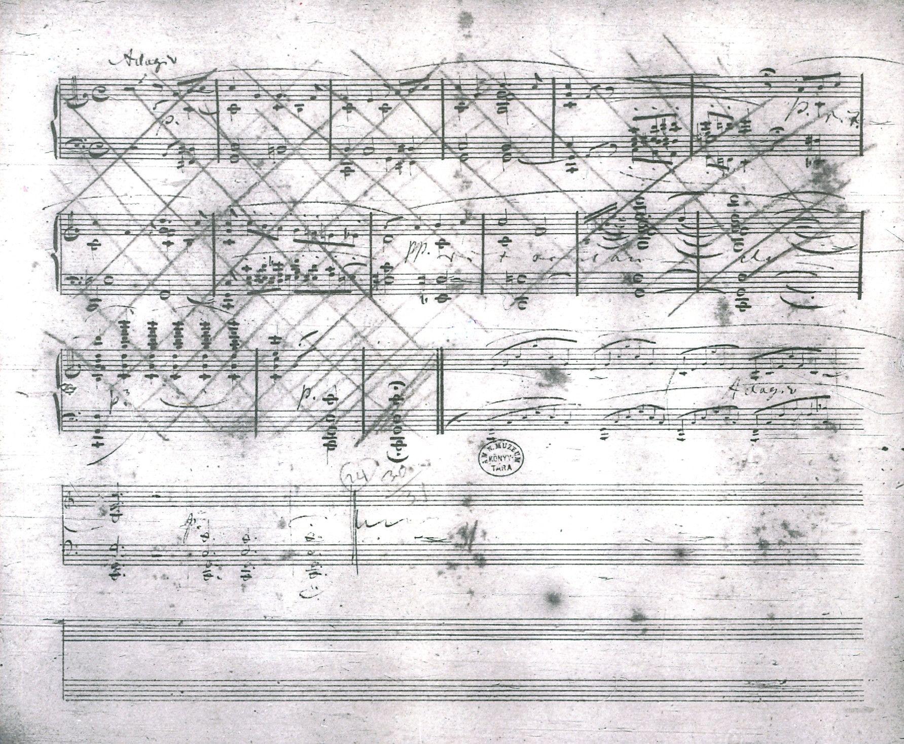 圖為舒曼最信任的騰譜員布累克納騰抄的《幻想曲》,作品 17。舒曼把騰抄好的部份刪去,寫上新的音樂。