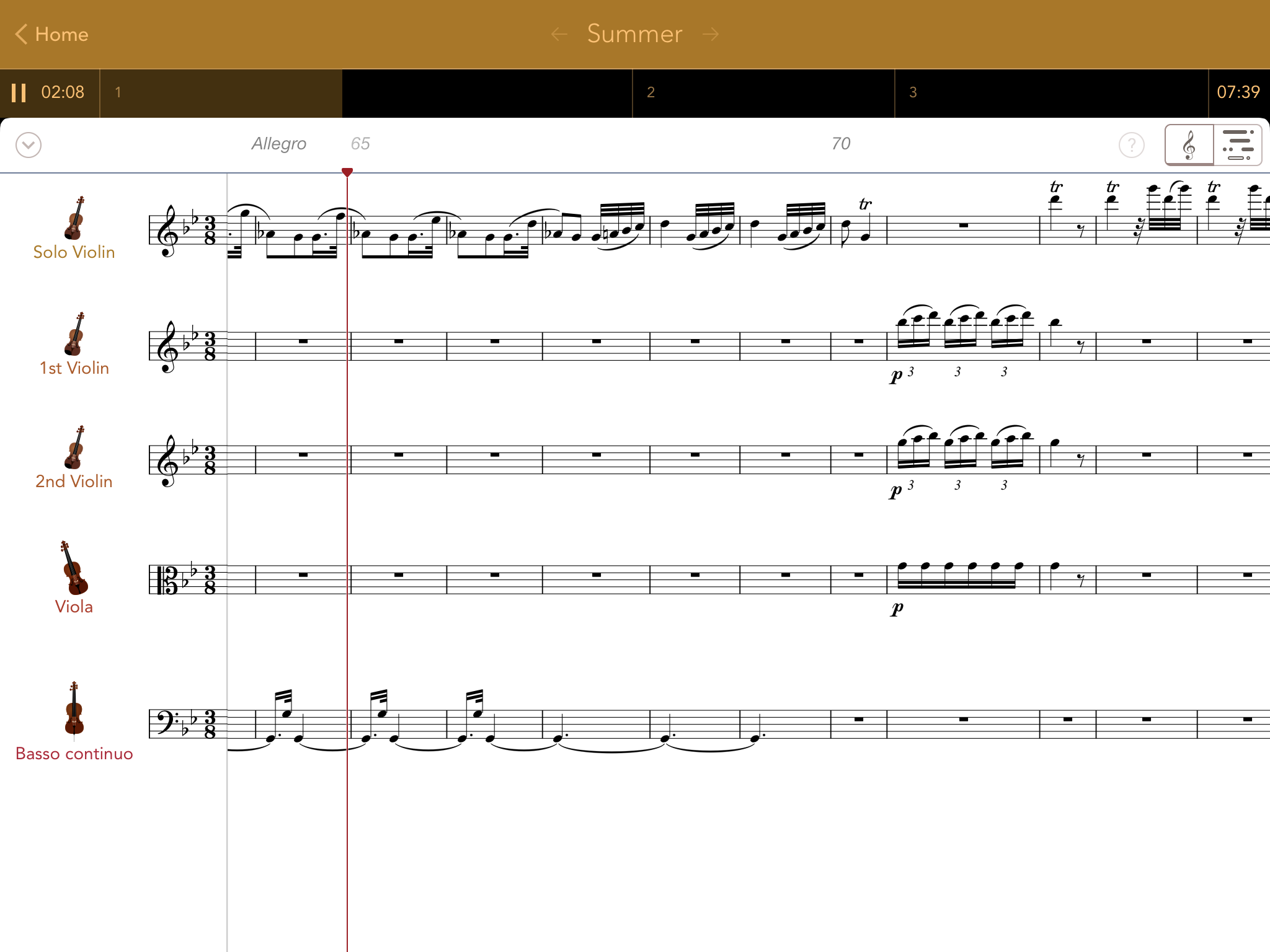 App 中的樂譜,可以推前翻後,音樂會跟着跳到相應之處。