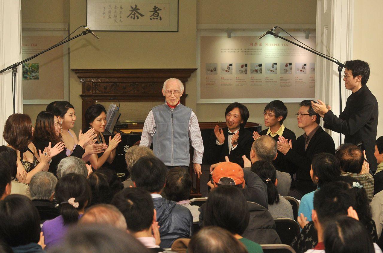 2013 年 3 月 2 日首場音樂會,余光中親臨欣賞並與觀眾與表演者交流。在他面前朗讀他的文字,最為戰競。